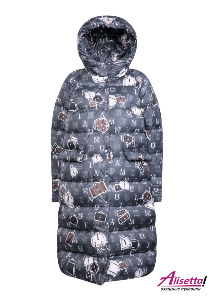 Пуховик NAUMI 1152 Print-Travel - Grey-серый