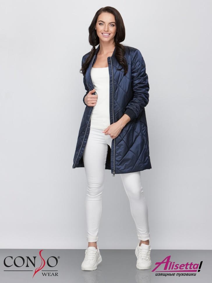 2c2428bd659 Полупальто женское Conso SM 190116 night – темно-синий - Модное женское  пальто на весну