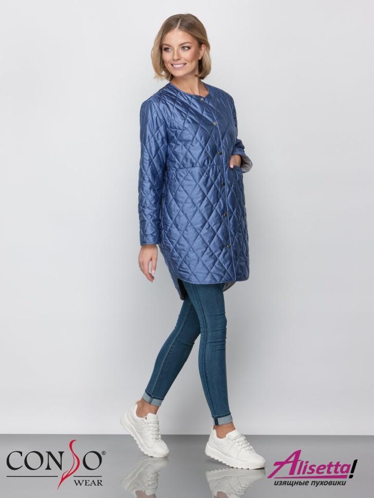 be51466cfdf Модная женская куртка на весну и лето CONSO SM 190117 blue – голубой топаз  силуэта кокон